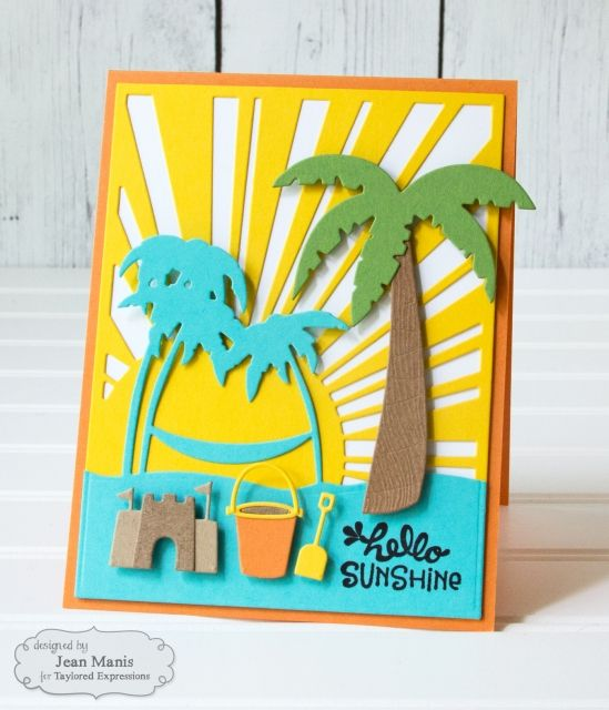 card summer beach seaside sea palm tree TE Stamps: Tropical Trio Stamp & Die Combo TE Dies: Little Bits - Pail & Shovel, Sunshine Cutting Plate, Build a Scene – Tropical, Little Bits – Sandcastle, Beach Border Hello Sunshine by Jean Manis*