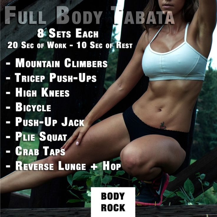 Full Body Tabata: mountain climbers, tricep push-ups, high knees, bicycle, push-up jack, plie squat, crab taps, reverse lunges
