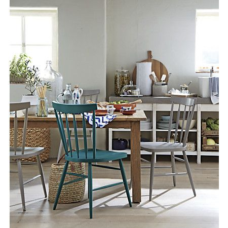 This blue dining chair isn't green, but it's still lovely. It's a good substitute.