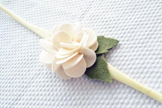Felt White Flower Headband / Felt White Flower by CraftyCatgr