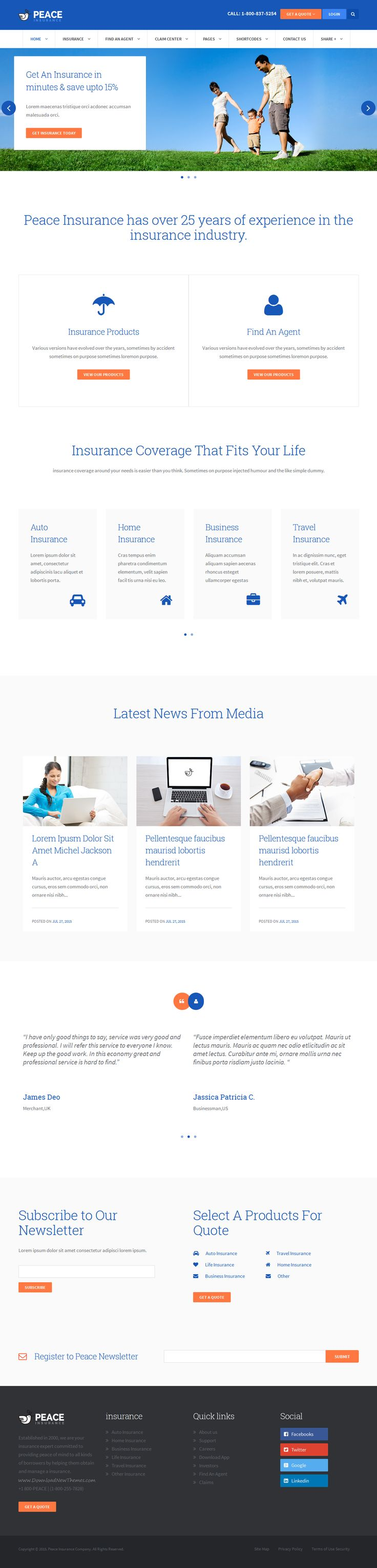 Peace is an insurance agency WordPress Theme designed for insurance company, individual agent, small insurance company or other companies with insurance & #financial related services. #website #design