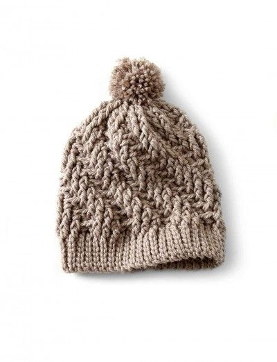 Yarnspirations: Bernat Stepping Texture Hat - Free Crochet Pattern. Super chunky.