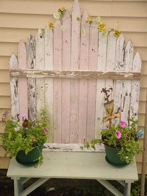 Cottage Garden Painted Picket Fence Bench Pastel Pink Green OOAK  Recycle Chic. $150.00 USD, via Etsy.