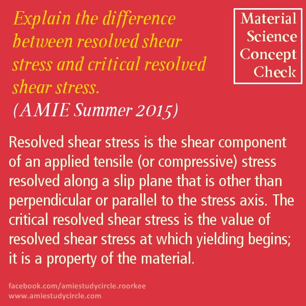 Explain the difference between resolved shear stress and critical resolved shear stress. (AMIE Summer 2015)