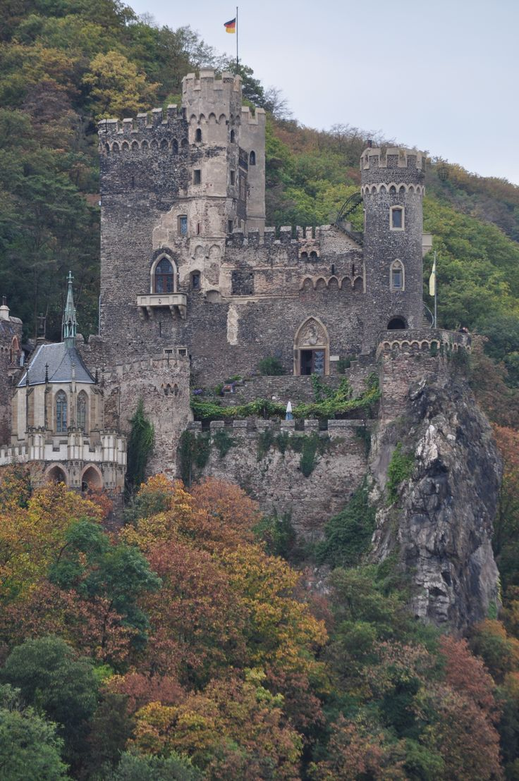 Rheinstein Castle is located on the Rhine River opposite to Assmannshausen, Germany, on a steep rock. It is one of the most important examples of romantic castle reconstruction. As a masterpiece of the architect Johann Claudius of Lassaulx the castle was built in the beginning of the 14th Century. It was a princely summer residence.