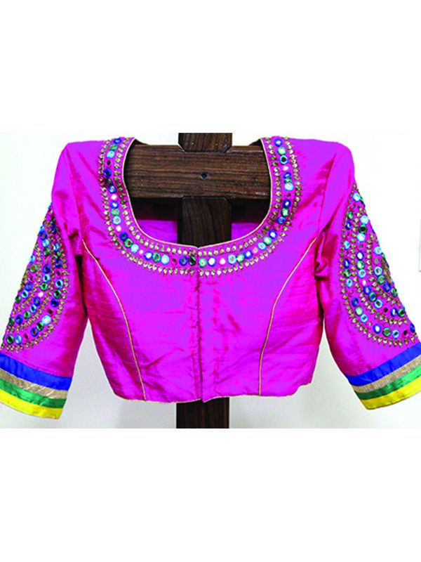 Buy Pink Mirror Work Blouse by Desically Ethnic @Red Polka  #Blouse #desingerblouse