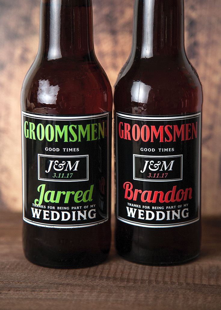 Give your groomsmen a personalized six pack of beer for a special gift to give for being by your side at your wedding.