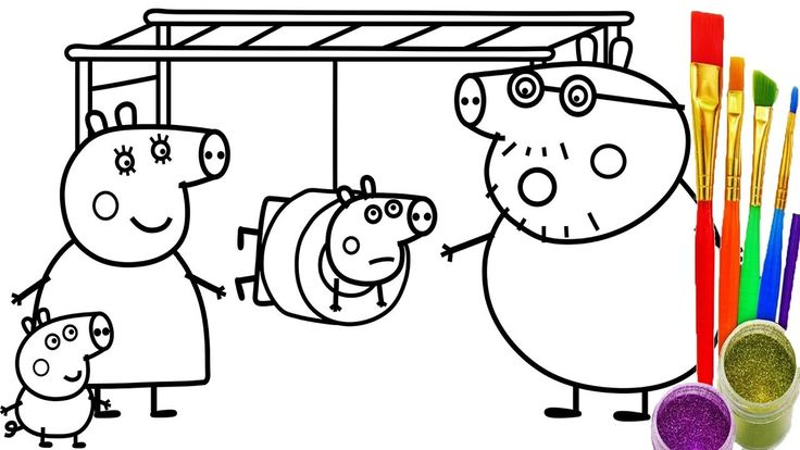 How to Draw Peppa Pig PlayGround Coloring Pages | Kid Drawing Learn Colo...