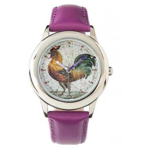 ANTIQUE ROMAN MOSAICS / ROOSTER WATCHES #birds #animals #watch #fashion #accessory #mosaic #rooster #rustic