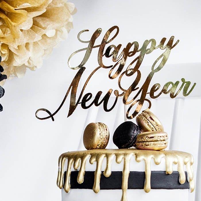 Taarttopper Happy New Year Black Gold Zelfgemaakt Decoratie Kerst
