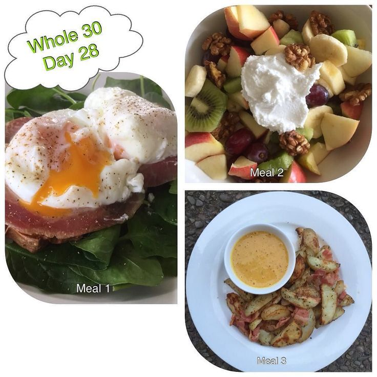 #whole30 Day 28 Meal 1: Poached eggs on pancetta roasted kumara and a bed of spinach Meal 2: Fresh fruit salad with coconut yoghurt and walnuts Meal 3: Oven baked wedges sprinkled with bacon with a dipping sauce from @planksloveandguacamole (Alanna's burger sauce) So yummy!!! #paleo #healthyeating #cleaneating by kaleisnotcowfood