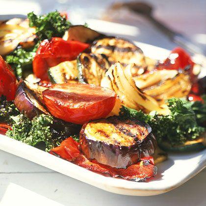 Verduras a la plancha con vinagreta balsámica.