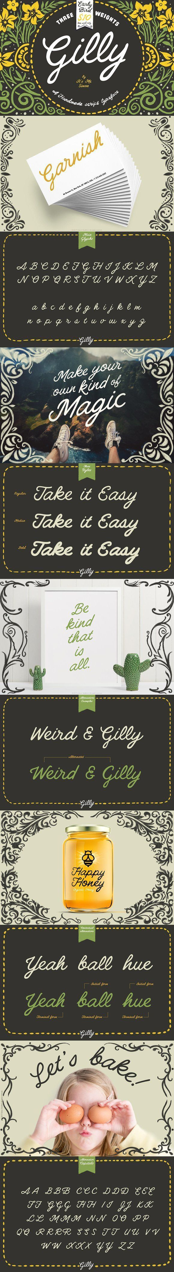 Gilly Script font - Handmade, with a mix of inspiration from hand painted signage with a large dollop of American western. Its got big bold lines that have a somewhat retro look and feel. Great for stationery, invitations and cards, logos, titles and slogans or anything where you want that handmade look. By It's me simon $10 #typeface #cursive #vintage #affiliatelink