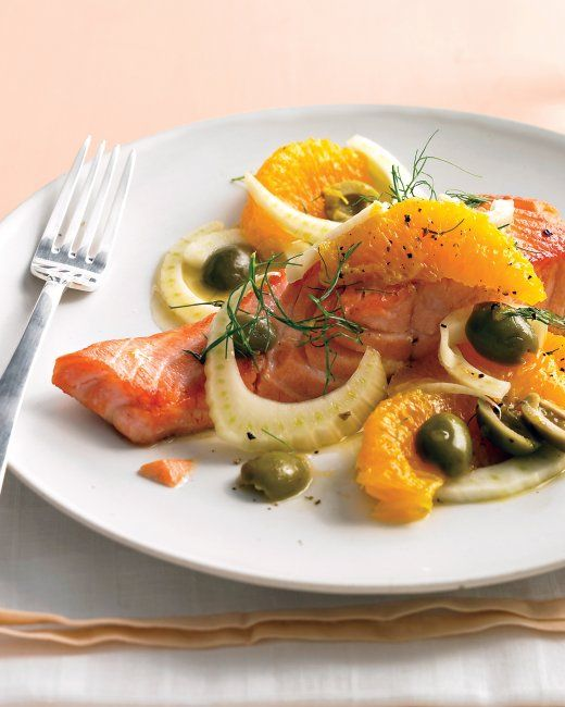 Seared Salmon with Oranges and Fennel (maybe omit olives?)