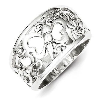 Sterling Silver Butterfly Ring - Size 6