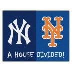 MLB Yankees/Mets House Divided Navy Blue 2 ft. 10 in. x 3 ft. 9 in. Accent Rug, Blue/Blue