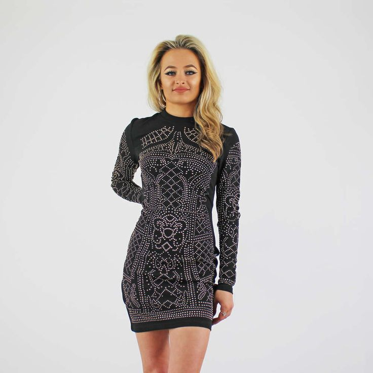 Black Long Sleeve High Neck Studded Front Bodycon Dress