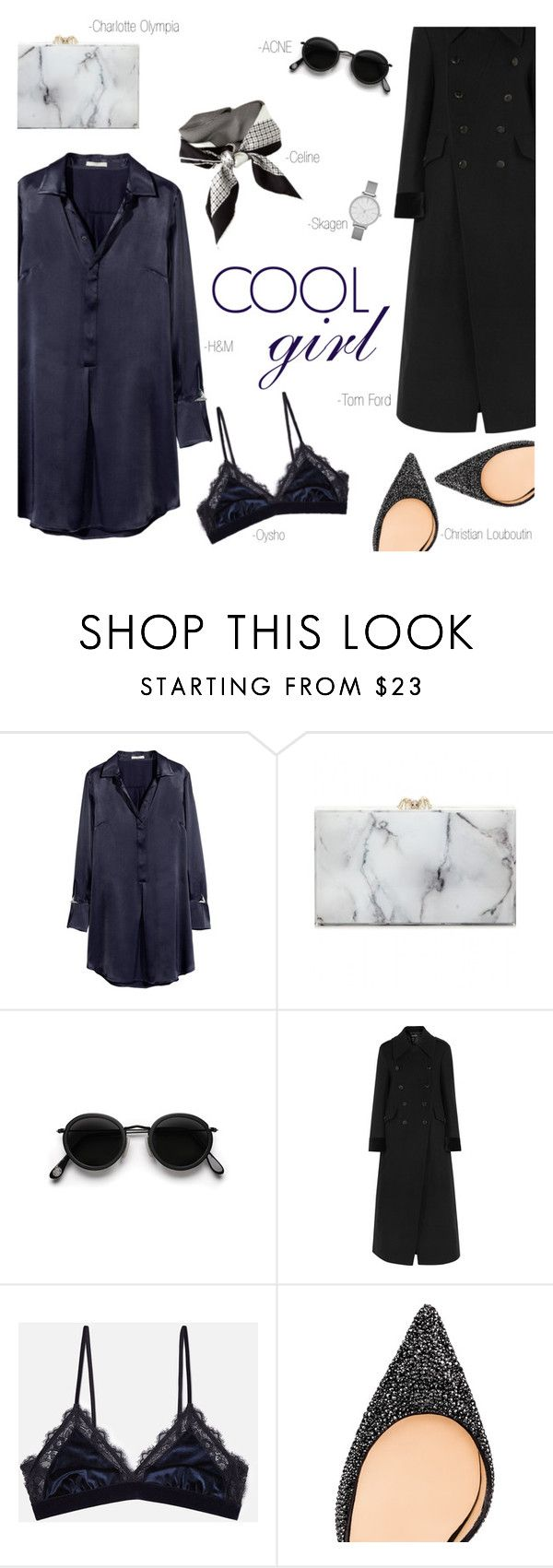"""""""Shirt Dress"""" by modernbovary ❤ liked on Polyvore featuring H&M, Charlotte Olympia, CÉLINE, Acne Studios, Tom Ford, Oysho, Christian Louboutin and Skagen"""