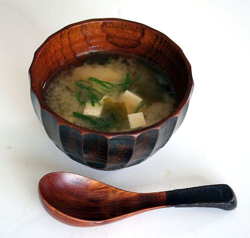 Simple Miso Soup.  Add some asian greens & mushrooms if you like. Ingredients:4 cups water  1 1/2 teaspoons instant dashi granules  1/2 cup miso paste  1 tablespoon dried seaweed (for miso soup), soaked in water  1/2 cup cubed tofu  2 tablespoons chopped green onion