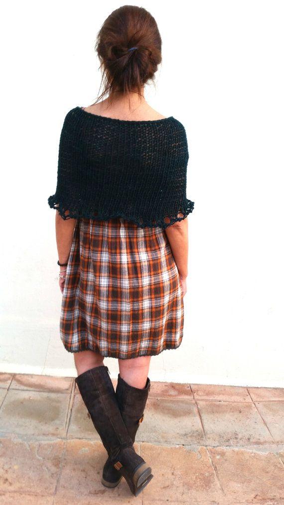 Poncho verde de punto tejido a mano chal lana verde por EstherTg
