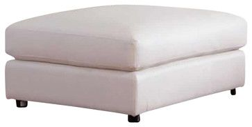 Coaster Quinn Contemporary Square Cocktail Storage Ottoman in White - transitional - Ottomans And Cubes - Cymax from Houzz