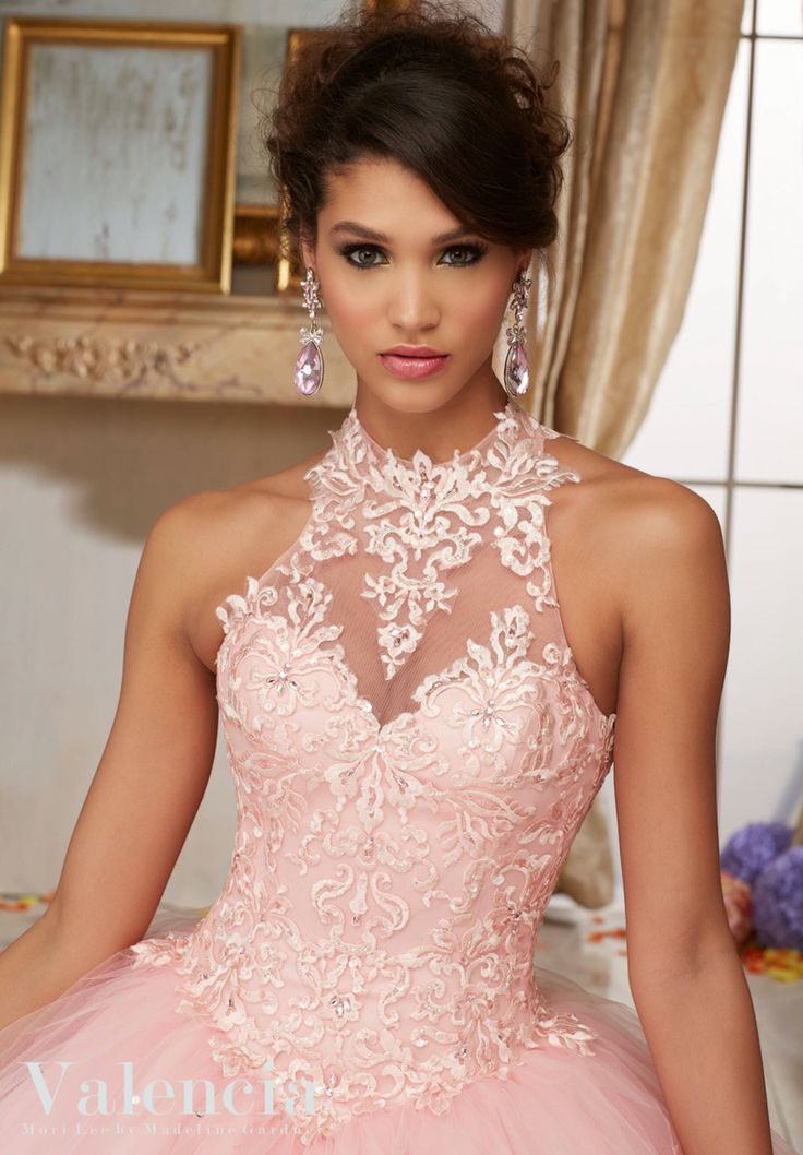 Morilee Valencia Quinceanera Dress 60004 EMBROIDERY AND BEADING ON TULLE BALL GOWN Matching Stole. Colors Available: Scarlet, Capri, Fairytale Pink, White Color of this dress: Fairlytale Pink