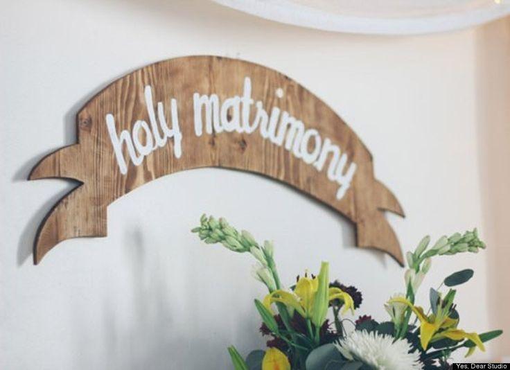 Items Similar To Wood Wedding Banner Sign Holy Matrimony On Etsy