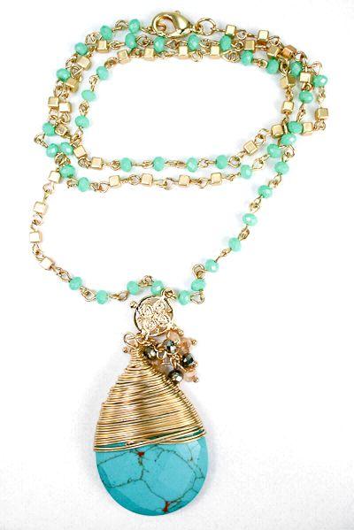 Festival Chic Stone Drop Necklace
