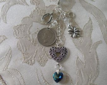 Something Old, Something New,Something Blue. Bridal Bouquet Charm with Lucky Sixpence