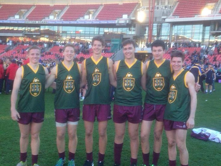 The six #Queensland U15 School Boy representatives selected in the 2014 All Australian team. Two #AFLSC lads in Bayden Goff and Tom Fullarton- well done boys!