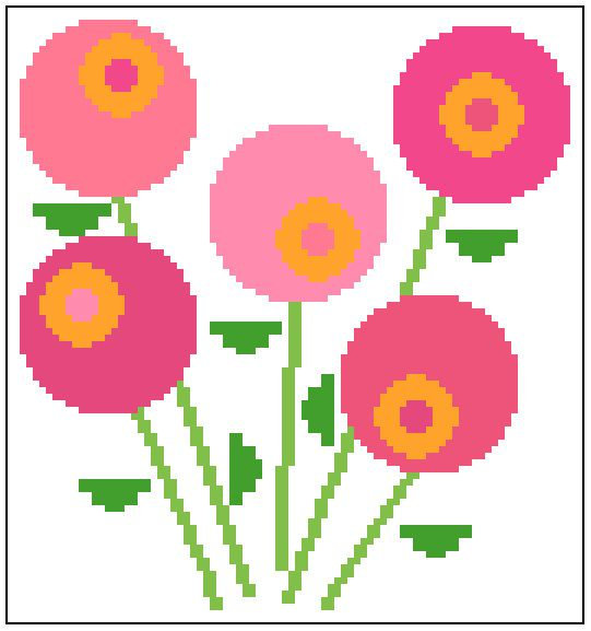 Contemporary round lollipop flowers. Mid by crossstitchtheline
