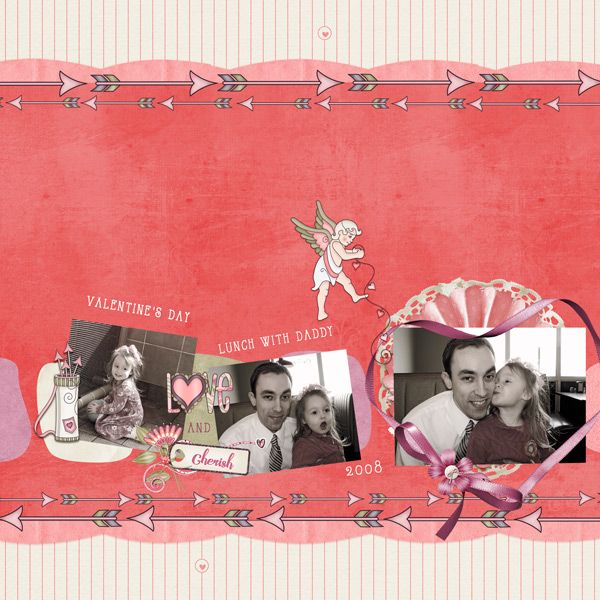 This scrapbook page was made using the digital scrapbooking collection, Love Struck, sold by Kathryn Estry
