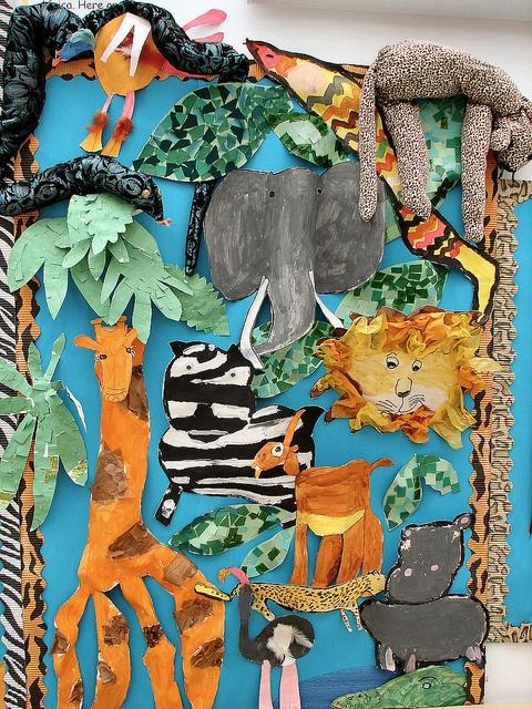 In the Jungle: Wild Animal, Jungles Art, Animal Art, Animal Theme, Bulletin Boards, Art Collage, Classroom Ideas, Boards Ideas, Jungles Animal