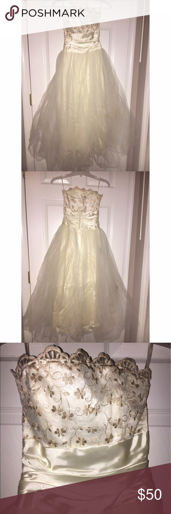 Tea length formal dress Jessica McClintock tulle tea length dress. Worn once. Jessica McClintock Dresses Strapless