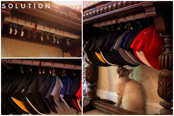 worth saving: DIY Hanging Baseball Cap Storage For Ricky & Ron. lol and us too bc i've recently accumulated caps