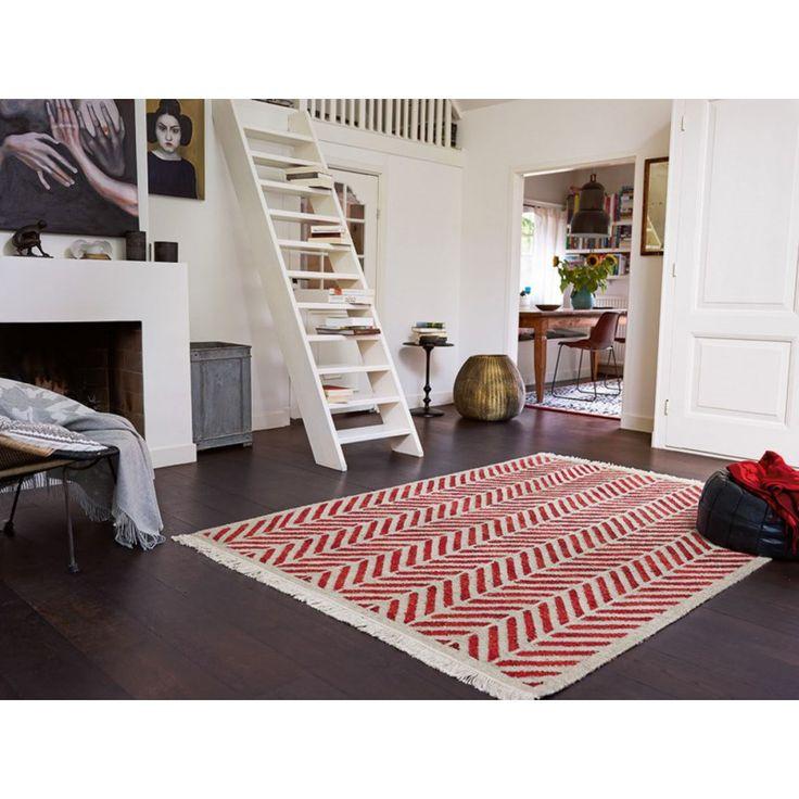 Tapis plat tissé main en laine et chanvre rouge Ethno Esprit Home http://www.allotapis.com/tapis-de-salon/2519-tapis-plat-tisse-main-en-laine-et-chanvre-rouge-ethno-esprit-home.html