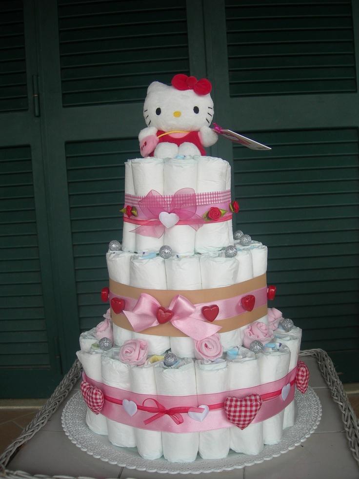 Hello Kitty Baby Shower Cake Part - 27: Linda Torta De Pañales Para Recibir A La Más Pequeña De La Casa Alusiva A  Hello. Baby ShowerTortillaHello KittyShower IdeasDiy IdeasCakes ...