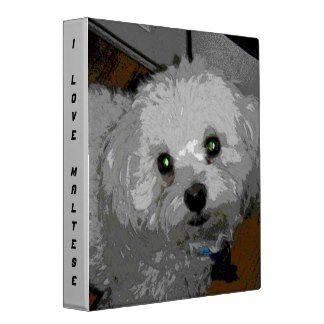 """I Love Maltese"" Green Eyed Puppy Vinyl Binder"