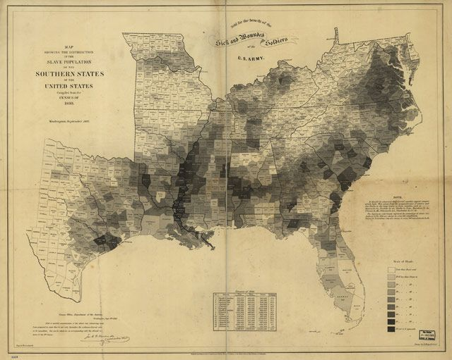 1861 map of US slavery
