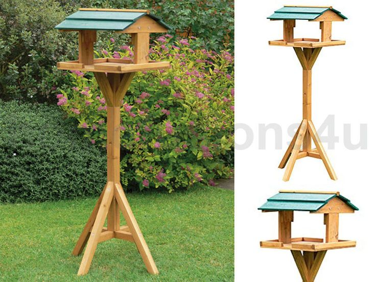 TRADITIONAL WOODEN BIRD FEEDER STATION TABLE GARDEN BIRDS FEEDING FREE STANDING in Garden & Patio, Bird Baths/ Feeders/ Tables | eBay