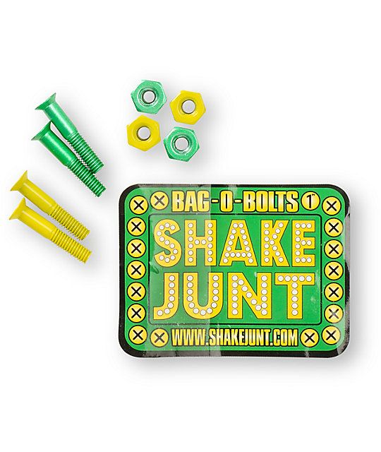 """Get your roll on with the Shake Junt Bag-O-Bolts 1"""" skateboard hardware in the all green and yellow colorway. The Bag-O-Bolts skateboard hardware set includes 4 green nuts and bolts and 4 yellow nuts and bolts for pure Shake Junt passion. Before you get b"""