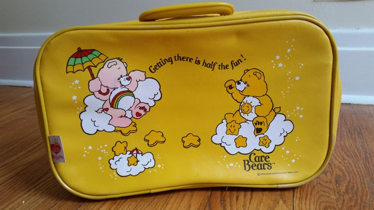 vintage Care Bears suitcase, small yellow children's luggage by bootsandbeards on Etsy