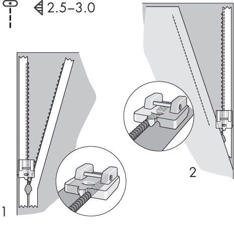 Pfaff - Invisible Zipper Foot  Piilovetoketjupaininjalalla ompelu