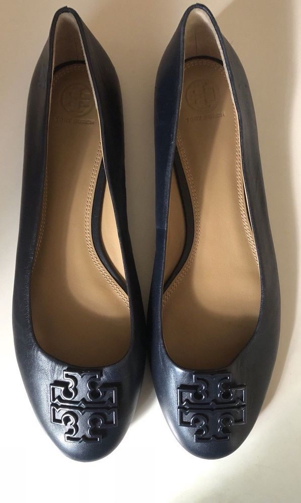 77ba2a38483c Tory Burch Navy Blue Melinda Powder Coated Leather Ballet Flats Logo Size  11M  fashion  clothing  shoes  accessories  womensshoes  flats (ebay link)