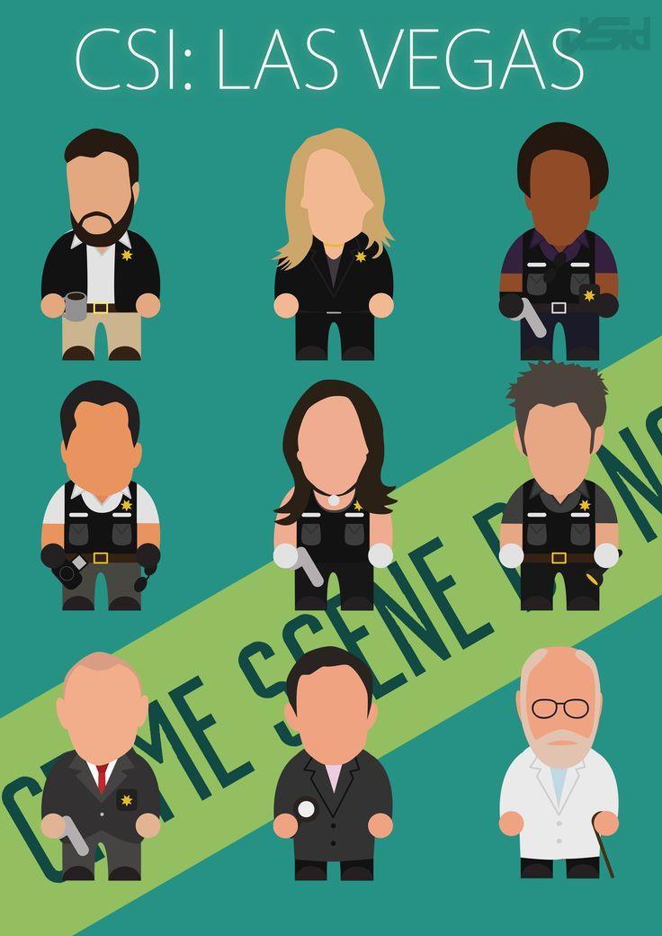 CSI: Las Vegas Minimal Poster with Grissom, Catherine, Warrick, Nick, Sara, Greg, Brass, Hodges, and Doc Robbins.