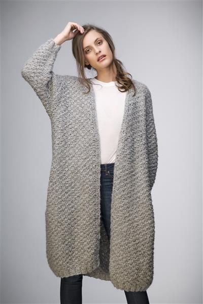 1503: Modell 8 Lang jakke med lommer #strikk #knit #fashion #tweed #alpakka