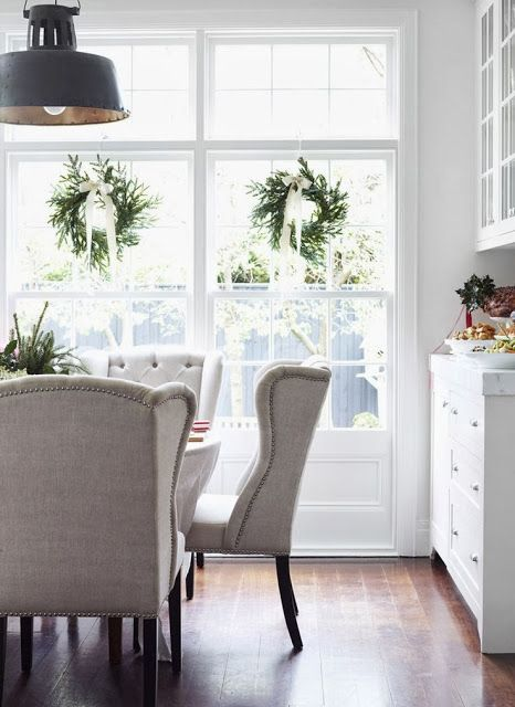 I love wreaths inside on the windows.   South Shore Decorating Blog: Some Favorite Rooms From Elle Decor