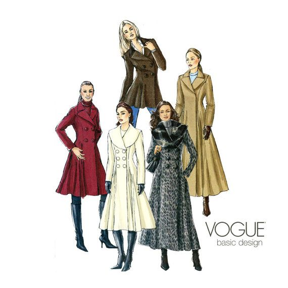 Princess Seam Coat Pattern Vogue V8346 Double Breasted Shawl Portrait Collar Steampunk Victorian Day Evening UNCUT Womens Sewing Patterns
