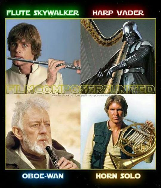 Flute Skywalker and Harp Vador are pushing it a little...haha :)