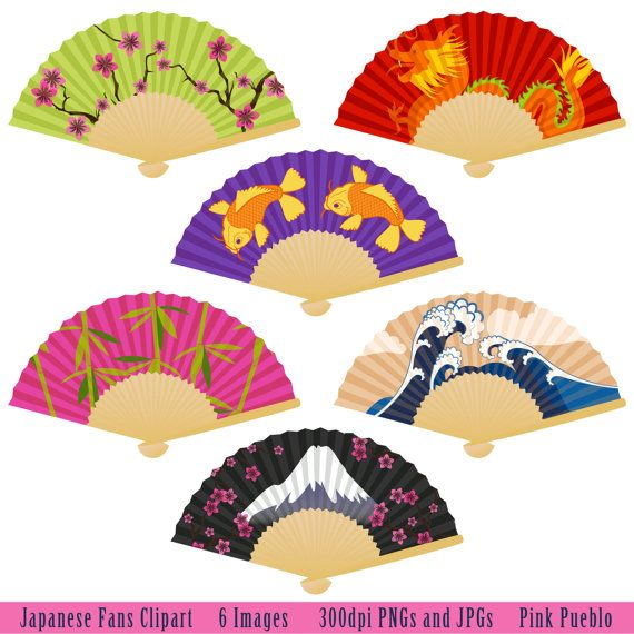 Japanese Fans Clipart Clip Art with Koi Dragon by PinkPueblo, $6.00